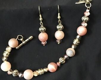 """Bracelet & Earrings """"fresh beige"""" A41"""