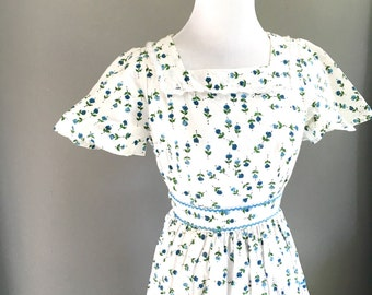 Women's 60s Floral Summer Day Dress - Small