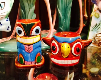 Victoria Ceramics Totem Pole Salt and Pepper Shakers made in Japan circa 1950s