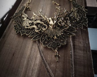 Hunger Games Katniss Everdeen ♰ Gold Deer ♰ golden lace bib necklace
