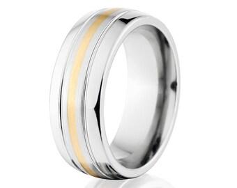 Wedding Band 14k Gold and Cobalt Wedding Band Cobalt Custom USA Made Wedding Ring - COB-7HR2.5G11CG-B/P-Gold-Inlay