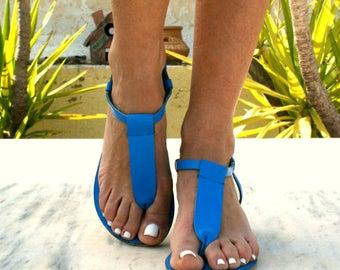 CHLOE 4 sandals/ Greek leather sandals/ t-strap sandals/ ancient grecian sandals/ handmade sandals/ Greek flats/ blue sandals