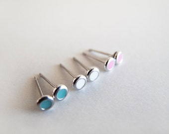 Set of Tiny Three Pairs 4mm Mint, White and Fucshia Silver Stud earrings - Hypoallergenic Surgical Steel Posts
