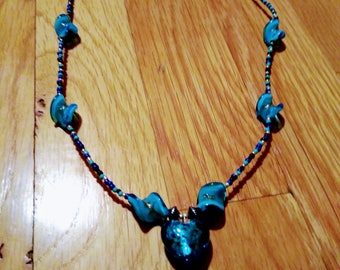 Valentine's Day Blue Lampworked Glass necklace