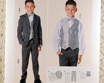 Burda 9433, Boy's Suit Sewing Pattern, Boy's Jacket Pattern, Boy's Pants Pattern, Boy's Vest Pattern, Boy's Size 9-15, Uncut