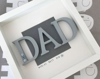 Handmade Personalised Father's Day Box Frame - World's Best Dad - Perfect Gift - FREE POSTAGE