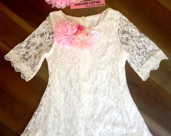 Pink and White Lace Easter Dress & Headband, Girls Lace Dress, Pink Lace Easter Dress, Girls Easter Dress, Flower Girl Dress, Egg Hunt Dress