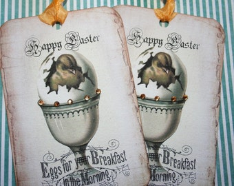 Easter Tags, set of 4 with crystal rhinestones
