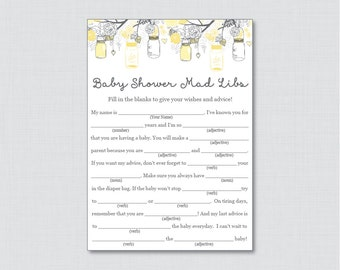 Mason Jar Baby Shower Mad Libs Printable - Baby Advice Cards Mad Libs - Instant Download - Yellow and Gray Baby Shower Mad Libs - 0064-Y
