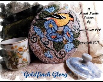 Goldfinch Glory Punch Needle Pattern Download by Diane Knott LLC
