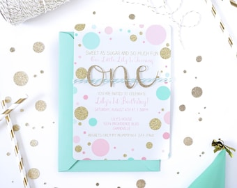 Girl 1st Birthday | First birthday invitation | Pink and Gold Mint invite | Handmade 1st | Confetti invite | Baby Girl is One | Gold Glitter