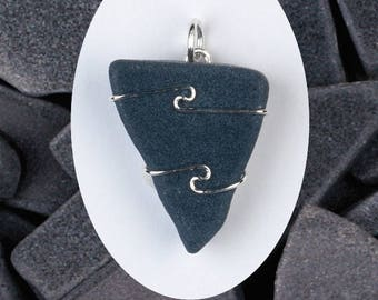 One Black Azeztulite Wire Wrap Pendant! Black Calcite! .925 Sterling Silver! Synergy 12! Guarantee Card Included! Powerful Protection!