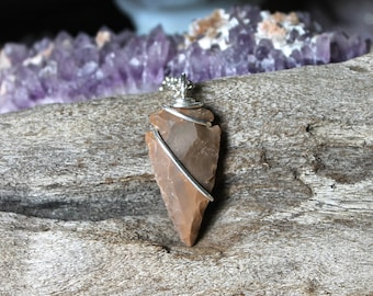 Small Arrowhead Necklace - Wire Wrapped Stone Jewelry - Stone Arrowhead Jewelry - Bohemian Hippie Necklace - Boho Necklace - Gypsy Jewelry