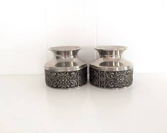 Pair of Vintage AM Pewter Candle Holders, Decorated Norwegian Pewter Votive Holder, Mid Century Folk Traditional Scandinavian Design