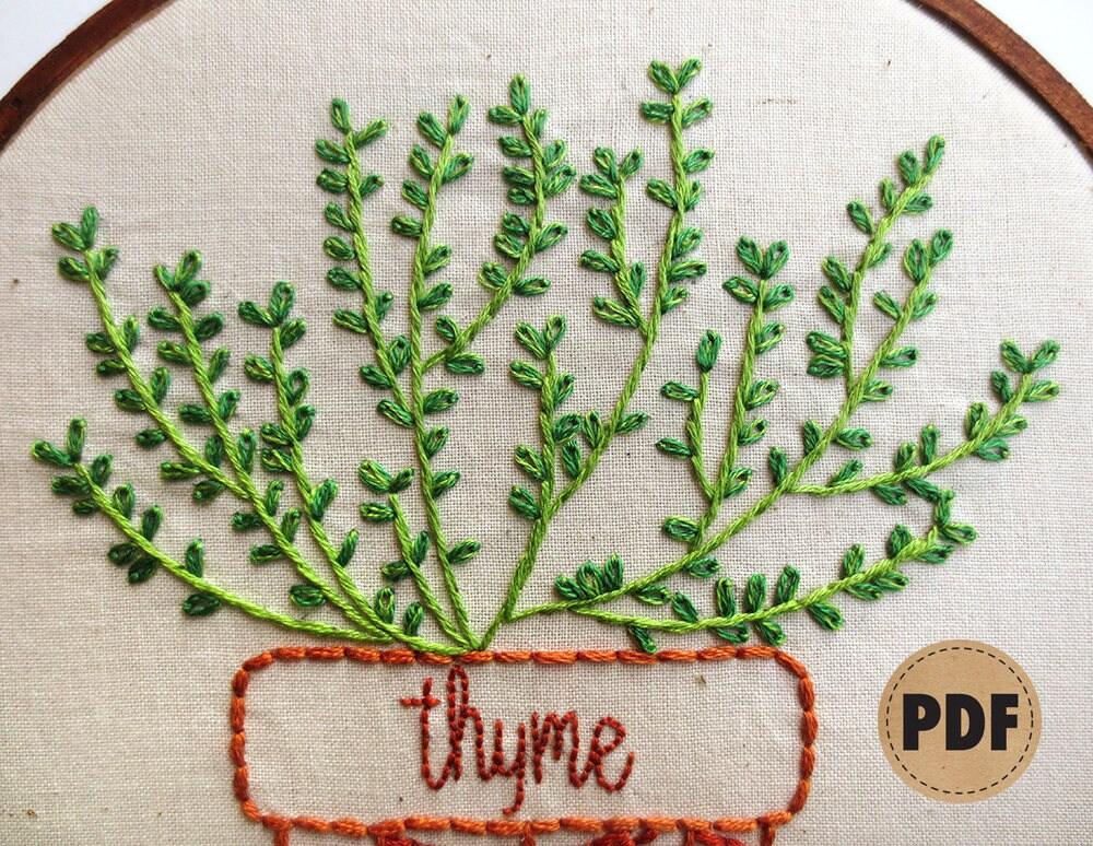 Thyme Modern Embroidery Pattern Botanical Art Herb Garden Kitchen