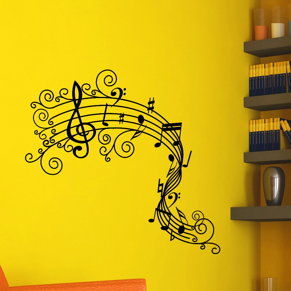 Vinyl Wall Decals Note Notes Waves Musical Sign Treble Clef