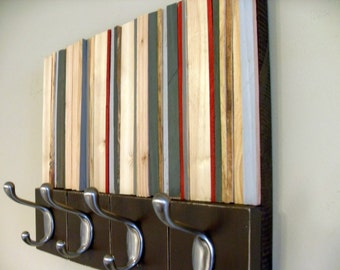 Coat Rack - Hooks - Reclaimed Wood Coat Hanger -  Wall Mount - 14x11
