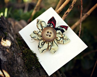 Swirly Natural Fabric Hair Flower With Vintage Rustic Button