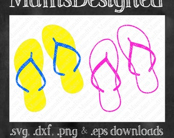 Flip Flops Summer Sandals Cutting Files, Clip Art For Silhouette Cameo, Cricut, Other Craft Cutters & Plotters (svg, dxf, png, eps)