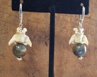 Sterling Silver Labradorite and Muskrat Vertebrae Lever Back Earrings