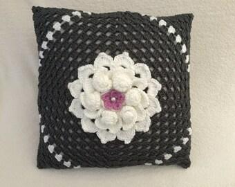 "Crochet pillow, modern pillow, decorative charcoal cushion, throw pillow, grey and white, crochet flower, 16"" pillow, insert included"