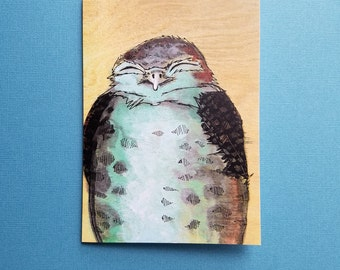 baby owl greeting card blank bird notecard with envelope 4 x 6