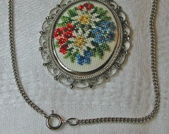 Vintage PETIT POINT CAMEO Pendant Necklace, Silk Embroidery, Edelweiss, Red Blue Roses, Filigree Scrolls, Original Vienna Box Stranksy Art