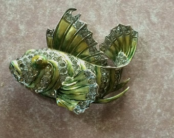 Marcel  Boucher  Enamel Tropical Fish Pin Clip, Unsigned