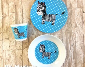 Kids tableware Zebra named melamine