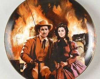 "Gone With the Wind Golden Anniversary Series China Collector's Plate - ""Burning of Atlanta"" - MGM Ltd. Ed - COA - Orig Box - 1988"