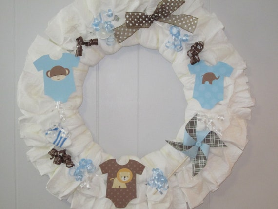 Baby boy diaper wreath boy baby shower decoration baby boy for Baby boy hospital door decoration