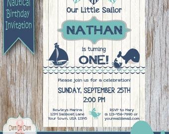 Whale First Birthday Invitation, Sailboat First Birthday Invitation, Nautical Sailor First Birthday Invitation, Blue and Aqua, Crab, Anchors