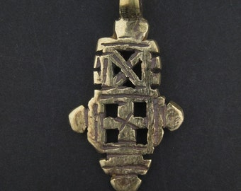 African Brass Cross - Small Cross Pendant - Ethiopian Coptic Cross - African Pendant Jewelry Making Supplies Made in Ethiopia (PND-CBS-540)