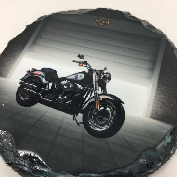 Custom Slate Harley Davidson Motorcycle Coasters Set, Groomsmen gift, Set of Harley Motorcycle Coasters, Motorcycle coasters, Wedding Favor
