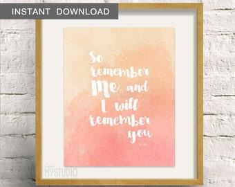 """Instant Download! Islamic Art Print, Remember Me, Allah. Muslim Poster 8x10"""""""