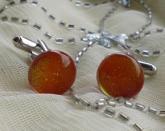 Fiery Red / Orange Dichroic Glass Cufflinks.  Red Fused Glass Cufflinks. Glass Cufflinks