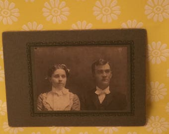 Vintage man and woman cabinet card photo