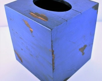 Distressed Blue Square Tissue (Kleenex) Box Cover, Persian Blue TIssue Box Cover