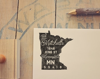 Minnesota Return Address State Stamp, Personalized Rubber Stamp