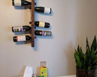 Wine Rack 10 bottle wall mounted, vertical wine rack, wine storage rack, wine bottle holder wedding gift
