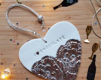 I love chocolate, chocolate heart, alternative chocolate gift, platinum and lace heart, birthday gift, mother's day gift, porcelain heart