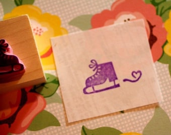Ice skate rubber stamp - hand carved rubber stamp