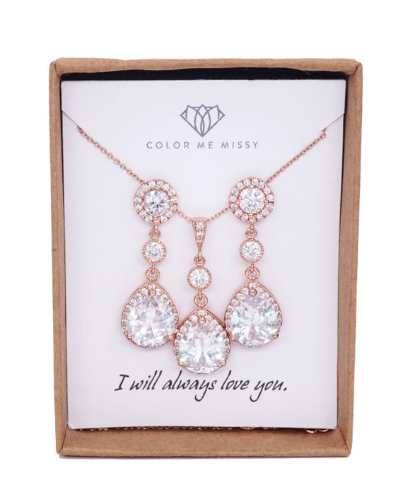Rose Gold Teardrop Luxe Cubic Zirconia Teardrop Earrings Necklace - Rose Gold FILLED, gifts for her, bridal gifts dangle, pink gold weddings