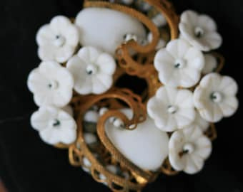 Miriam Haskell milkglass filagree brooch and earring set