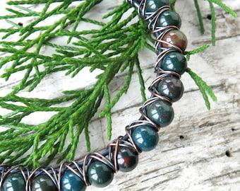 Green bloodstone bracelet - beaded stone copper wire wrapped