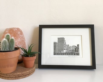 San Francisco Ferry Building, Framed Letterpress Print