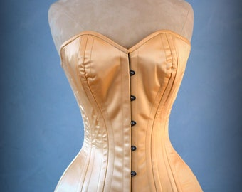 Luxury made to measures overbust authentic corset with long hip-line. Steel-boned corset for tight lacing, prom, gothic, wedding, valentine