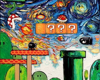Video Game Art retro gaming Starry Night Giclee Gamer print van Gogh Played With Fire by Aja 8x8 10x10 12x12 20x20 24x24 choose size