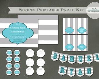 """Custom Boy or Girl Baby Shower Kit: """"Stripes"""""""