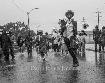 Dancing Through the Rain - New Orleans 2016 - Fine Art Photograph - Street Photography - Black and White - Fine Art Print